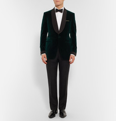 Kingsman Green Slim-Fit Silk Faille-Trimmed Velvet Tuxedo Jacket