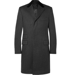 Kingsman - Covert Velvet-Trimmed Brushed-Wool Coat
