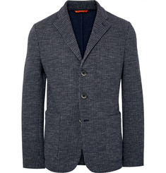 Barena Navy Slim-Fit Unstructured Checked Cotton-Blend Blazer