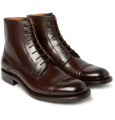 O'Keeffe Algy Cap-Toe Polished-Leather Brogue Boots