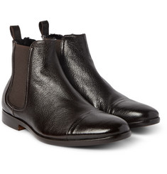 Armando Cabral - Shearling-Lined Grained-Leather Chelsea Boots