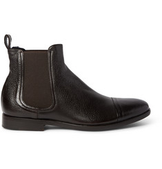 Armando Cabral Shearling-Lined Grained-Leather Chelsea Boots