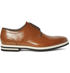 Armando Cabral Grosgrain-Trimmed Leather Derby Shoes