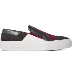 Armando Cabral Panelled Leather, Neoprene and Suede Slip-On Sneakers