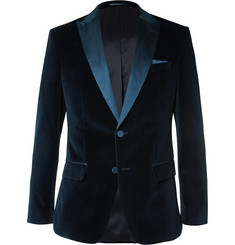 Hugo Boss Midnight-Blue Hayford Slim-Fit Silk-Trimmed Velvet Tuxedo Jacket