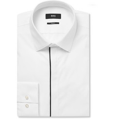 Hugo Boss - White Slim-Fit Satin-Piped Cotton Tuxedo Shirt