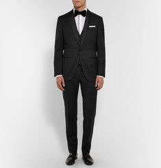 Hugo Boss White Slim-Fit Satin-Piped Cotton Tuxedo Shirt