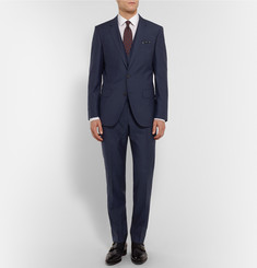 Hugo Boss Navy Slim-Fit Wool and Silk-Blend Three-Piece Suit