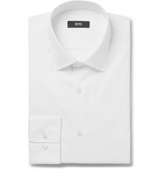 Hugo Boss White Geno Slim-Fit Stretch Cotton-Blend Shirt