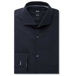 Hugo Boss Navy Slim-Fit Cotton-Poplin Shirt