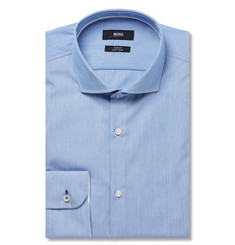 Hugo Boss - Blue Jerry Slim-Fit Micro-Striped Cotton Shirt