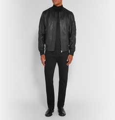 Hugo Boss Slim-Fit Leather Bomber Jacket