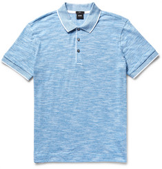 Hugo Boss Slim-Fit Mouliné Cotton-Blend Polo Shirt