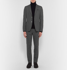Officine Generale Grey Slim-Fit Wool-Flannel Travel Suit Jacket
