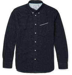 Officine Generale Slim-Fit Button-Down Collar Japanese Selvedge Denim Shirt
