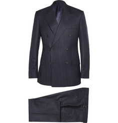 Kingsman Navy Double-Breasted Pinstripe Suit
