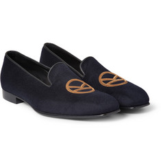 Kingsman George Cleverley Leather-Trimmed Cashmere Slippers