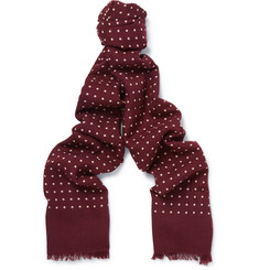 Kingsman - + Drake's Polka-Dot Wool and Silk-Blend Scarf