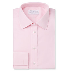 Kingsman - + Turnbull & Asser Pink Double-Cuff Royal Oxford Cotton Shirt