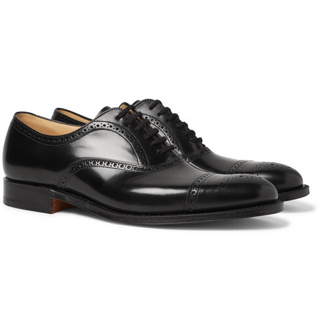Toronto Cap-toe Leather Oxford Brogues - Black
