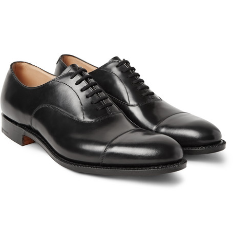 Dubai Polished-leather Oxford Shoes - Black