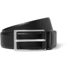 Hugo Boss 3cm Black Textured-Leather Belt