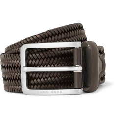 Hugo Boss 3.5cm Brown Woven Leather Belt