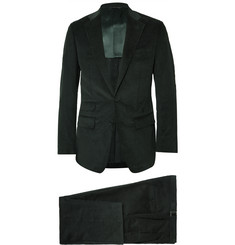 Thom Sweeney - Green Slim-Fit Cotton and Cashmere-Blend Corduroy Three-Piece Suit