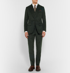 Thom Sweeney Green Slim-Fit Cotton and Cashmere-Blend Corduroy Three-Piece Suit