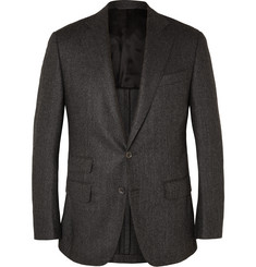 Thom Sweeney Grey Slim-Fit Herringbone Wool Blazer