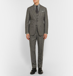 Thom Sweeney Grey Slim-Fit Brushed-Cotton Shirt