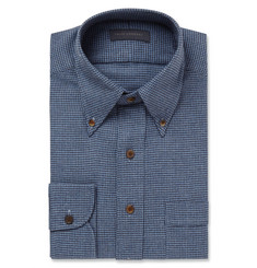 Thom Sweeney Blue Slim-Fit Houndstooth Brushed-Cotton Shirt