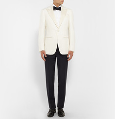 Thom Sweeney White Bib-Front Cotton-Poplin Tuxedo Shirt