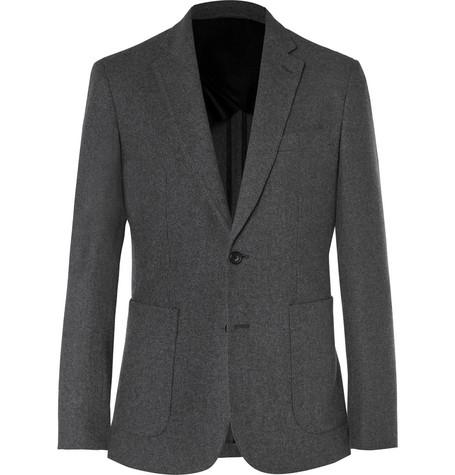 Charcoal Slim-Fit Brushed-Cashmere Blazer