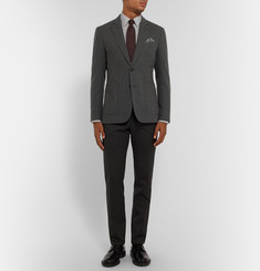Hardy Amies Charcoal Slim-Fit Brushed-Cashmere Blazer