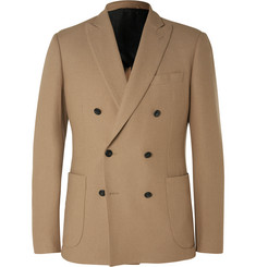 Hardy Amies Camel Slim-Fit Double-Breasted Brushed-Cashmere Blazer