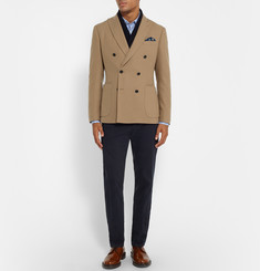 Hardy Amies - Camel Slim-Fit Double-Breasted Brushed-Cashmere Blazer