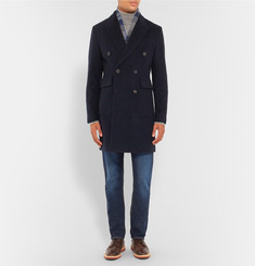 Hardy Amies Slim-Fit Double-Breasted Brushed-Cashmere Overcoat
