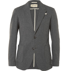 Oliver Spencer Grey Slim-Fit Unstructured Cotton-Flannel Blazer