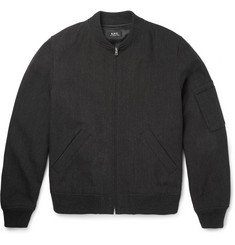 A.P.C. - Cotton and Wool-Blend Canvas Bomber Jacket