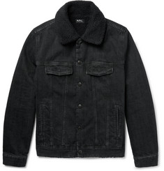 A.P.C. Faux Shearling-Lined Washed-Denim Jacket