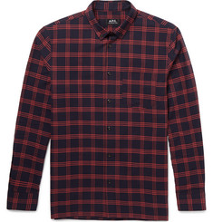 A.P.C. Slim-Fit Button-Down Collar Checked Cotton-Twill Shirt