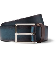 Paul Smith Shoes & Accessories - 3.5cm Navy Burnished-Leather Belt