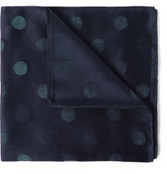 - Polka-Dot Silk and Cotton-Blend Pocket Square