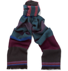 Paul Smith Shoes & Accessories Striped Herringbone Wool Scarf