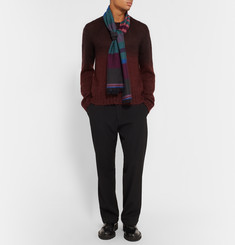 Paul Smith Striped Herringbone Wool Scarf
