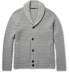 Theory Balfor Shawl-Collar Waffle-Knit Merino Wool Cardigan