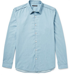 Theory Benner Slim-Fit Bleached Cotton-Chambray Shirt