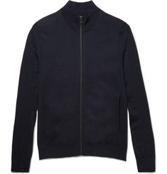 Theory Slim-Fit Zip-Up Stretch-Wool Sweater