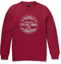 Stüssy Marathon Embroidered Fleece-Back Cotton-Blend Jersey Sweatshirt